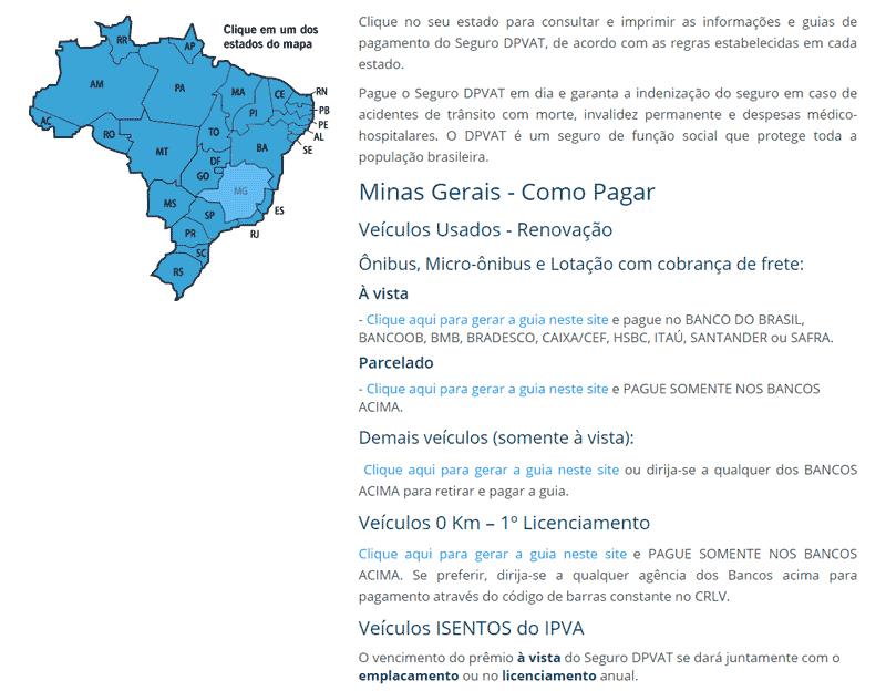 Seguro Obrigatório DPVAT 2021 MG